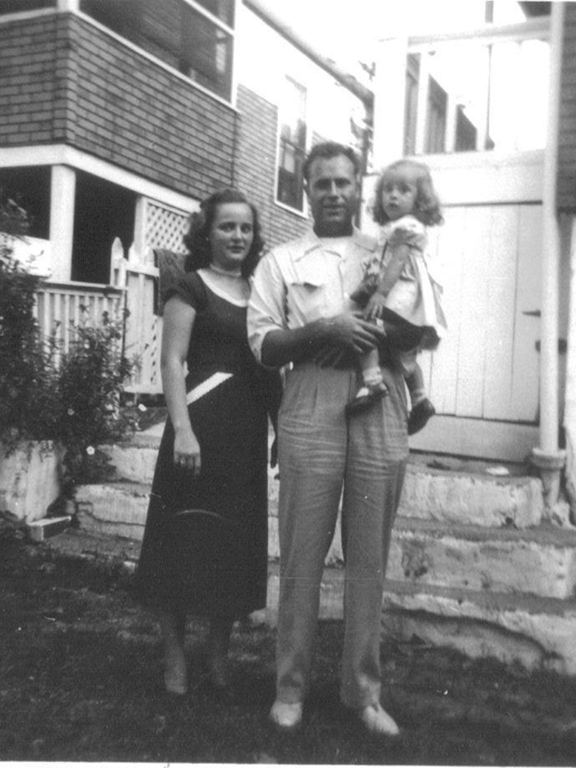 Helen Harney with her husband, Bob and their daughter, Linda, around 1953