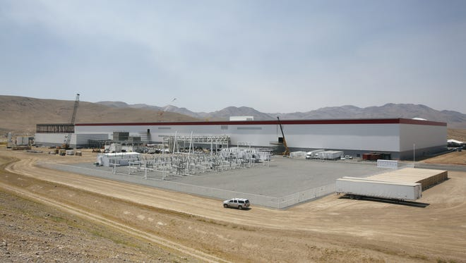 An overall view of the new Tesla Gigafactory is seen during a media tour Tuesday, July 26, 2016, in Sparks, Nev.