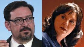 Maricopa County Recorder Adrian Fontes (left) and Arizona Secretary of State Michele Reagan.