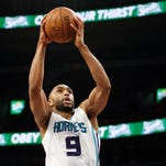 Charlotte Hornets guard Gerald Henderson (9) shoots the ball during the second quarter against the Detroit Pistons at The Palace of Auburn Hills. The Pistons won 116-77.