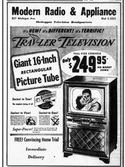 Modern Radio also advertised a giant 16-inch picture for only $249.95. The Sheboygan Press ad was for April 29, 1950.