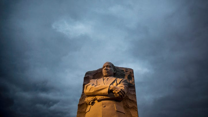 Early morning light shines on the Martin Luther King Jr. Memorial on the National Mall in Washington, D.C.