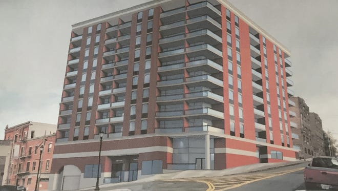 An artist's rendering for a proposed apartment tower at 73 N. Broadway and 3-5 Wells Ave. in Yonkers.