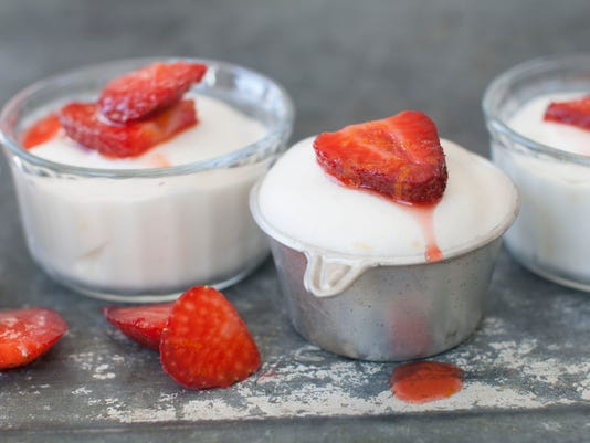 snow pudding with spiked strawberries