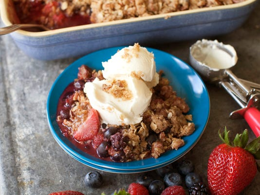 Summer crisp with pecan streusel topping