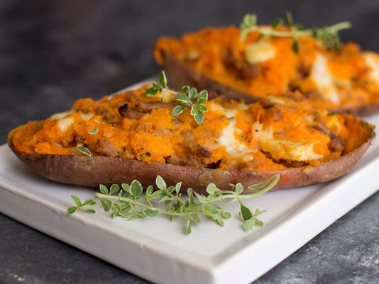 Apple-sausage stuffed twice-baked sweet potatoes