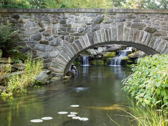 """Landscape architect Alling DeForest designed the gardens. After a couple bought the property 10 years ago, landscape architect Mark Bayer restored the bridges and terraces. The bridge """"was in a state of collapse,"""" he says, and he rebuilt it with some of the original stone and some newly quarried and carefully blended mica schist, the same stone used elsewhere on the property. Plantings include corkscrew rush and lizard's tail on the right and cardinal flower on the left."""