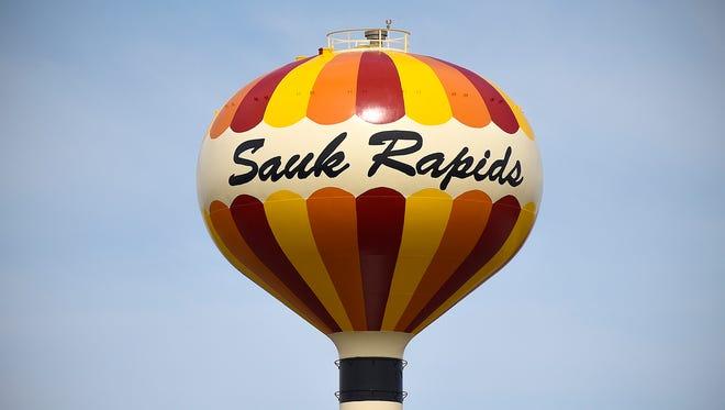 Sauk Rapids water tower Sunday, April 10, 2016.