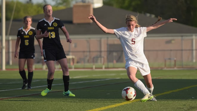 Caravel's Macie Pennington (5) scored a goal to help the Buccaneers reach the DII title game against Indian River.