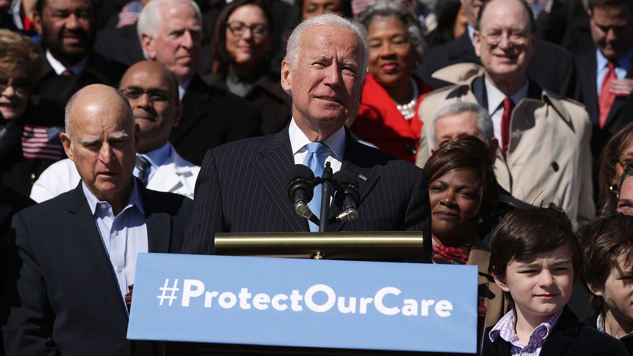 "Former Vice President Joe Biden is defending Barack Obama's Affordable Care Act and insisting it gave millions of Americans ""peace of mind."" (March 22)"
