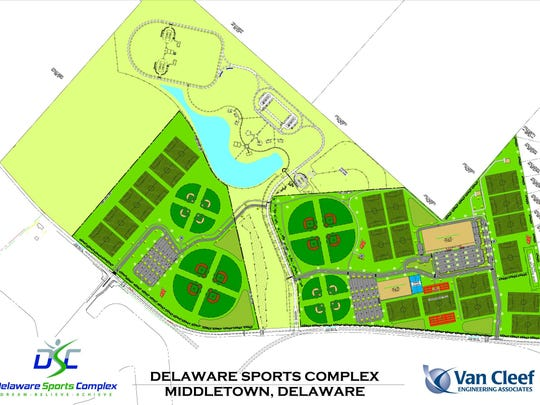 The updated rendering of the proposed 170-acre Delaware Sports Complex, which would include 20 outdoor all-sports fields, 16 baseball diamonds and two indoor facilities. The complex would be bordered on its north and east sides by Levels Road; the lower right corner points north.