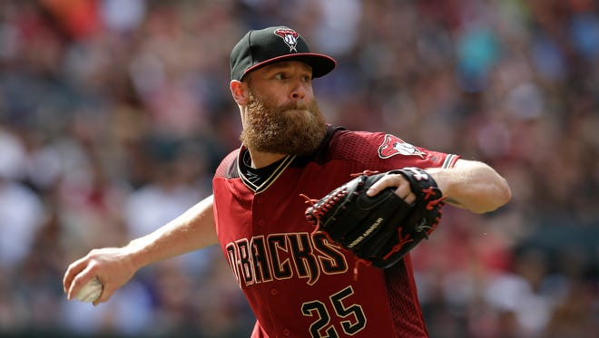 Arizona Diamondbacks starting pitcher Archie Bradley (25) in the first inning during a baseball game against the Cleveland Indians, Sunday, April 9, 2017, in Phoenix.
