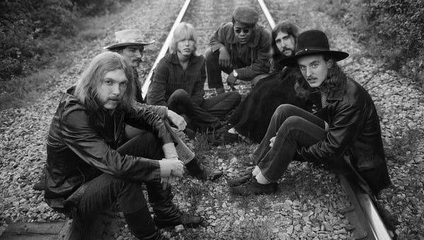 The Allman Brothers Band — Duane Allman, from left, Dickey Betts, Gregg Allman, Jai Johanny Johanson, Berry Oakley and Butch Trucks — are seen outside Macon, Ga., in May 1969.