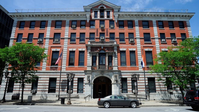 The Dutchess County Courthouse is on Market Street in the City of Poughkeepsie.