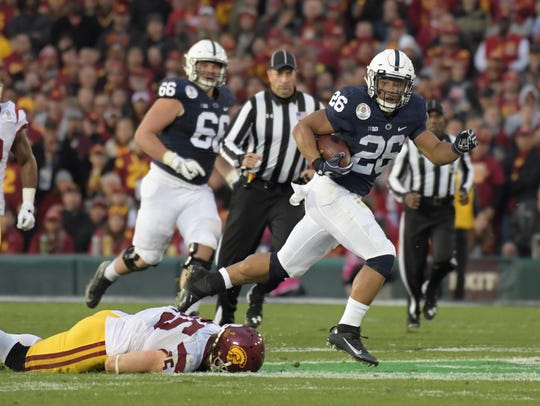 Penn State tailback Saquon Barkley, shown here in the