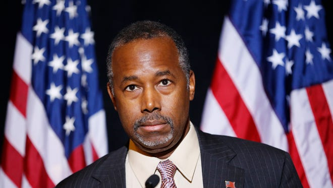 Republican presidential candidate Dr. Ben Carson speaks at a news conference Monday, Nov. 16, 2015, in Henderson, Nev. Carson called for Congress to cut off funding for resettlement of Syrian immigrants in the U.S. (AP Photo/John Locher)