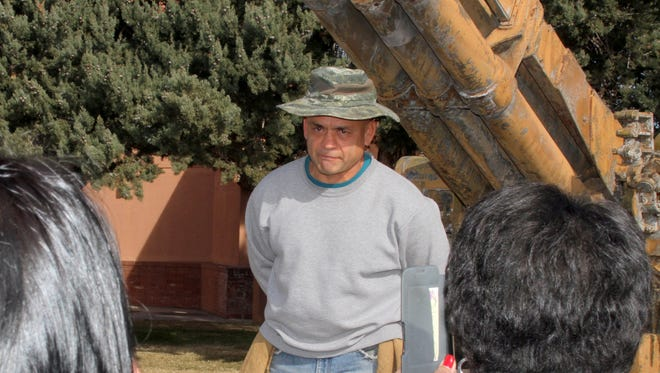 """Steve Duran gave a stirring portrayal of a Bracero working the fields of Luna County during the walking tour on Saturday that led an audience of 150 to the Deming Arts Center as part of the """"Braceros: Melding History and Art"""" show"""