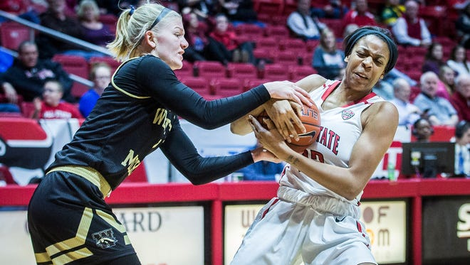Destiny Washington led Ball State with 21 points Saturday. In this file photo, she fights for possession against Western Michigan's defense at Worthen Arena Saturday, Jan. 7, 2017.