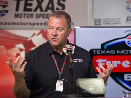 Jun 12, 2016; Fort Worth, TX, USA; IndyCar president Jay Frye discusses the weather shortened Firestone 600 at Texas Motor Speedway. Frye announces that the race will resume on August 27, 2016.