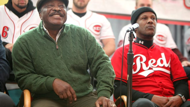 Former Cincinnati Reds second baseman Joe Morgan responds to a fan at Redsfest in 2015.