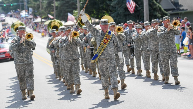 A military band performs on Tuesday, July 4, 2017, during the Urbandale Fourth of July parade.