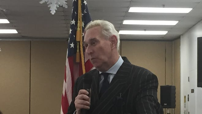 Republican operative Roger Stone extols President Trump and attacks mainstream media at the Middlesex County Republican Women's Club on Feb. 22,2017