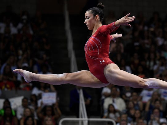 Aly Raisman during the balance beam in the women's