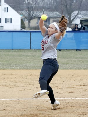 Bella Reese of Elmira delivers a pitch against Horseheads on April 11 at Broad Street field in Horseheads.