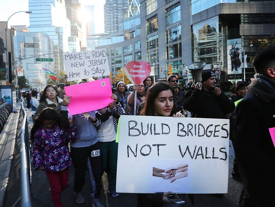 Thousands of anti-Trump protesters, including many