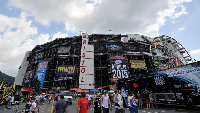 Fans arrive at Bristol Motor Speedway for Saturday's Irwin Tools Night Race.