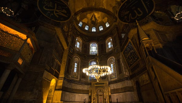 The interior of the Hagia Sophia Museum is seen on