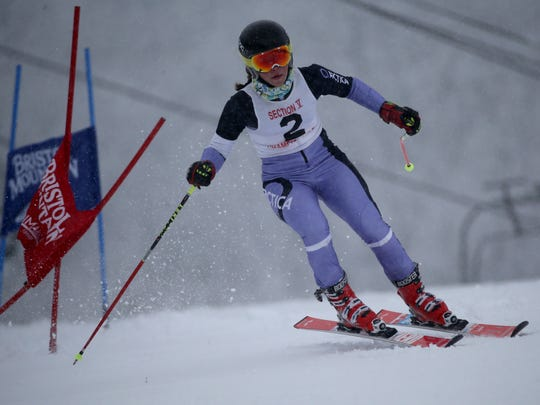Jane Baumer at Section V girls skiing at Bristol Mt.