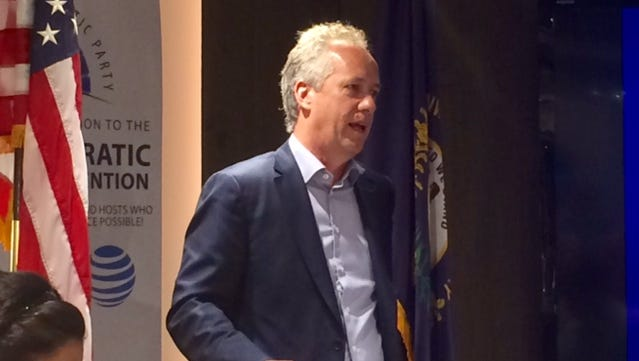 Louisville Mayor Greg Fischer talks to the Kentucky delegation at the Democratic National Convention in Philadelphia, July 28, 2016
