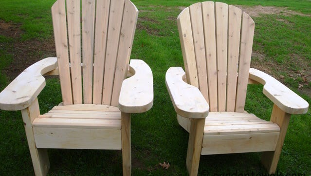 Adirondack furniture by John Finnan of Rushville, Ontario County, will be featured at the Woodstock-New Paltz Art and Crafts Fair this weekend.