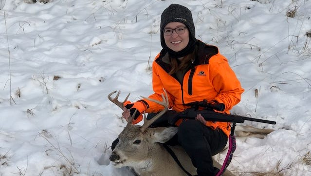 Marlena Azure got this white-tailed deer on her first hunting experience.