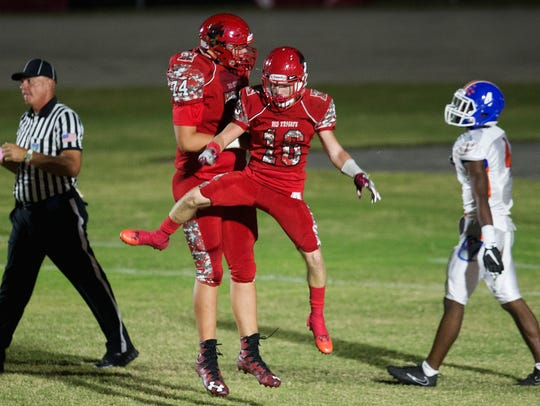 North Fort Myers High School's Blaise Sparks (74) and