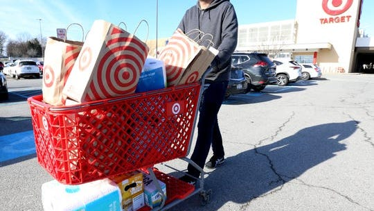 Nick Wise of the Town of Poughkeepsie wheels his items from Target on January 2, 2020. Dutchess County's plastic shopping bag ban began in on January 1st.