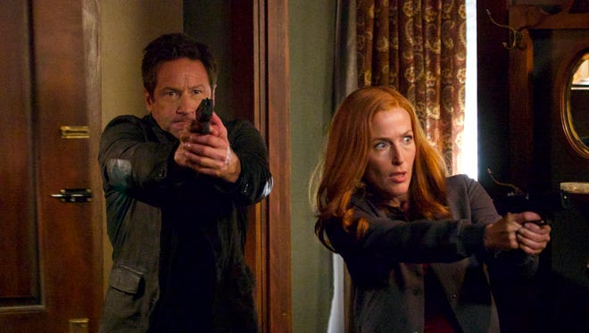 "Mulder (David Duchovny) and Scully (Gillian Anderson) are back investigating cases in Season 11 of ""The X-Files"" on Fox."