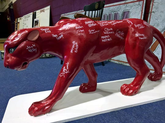 In the liquidation sale at Saint Joseph's College, the school has set aside memorabilia, including this Puma statue, that will be auctioned off to alumni during September.