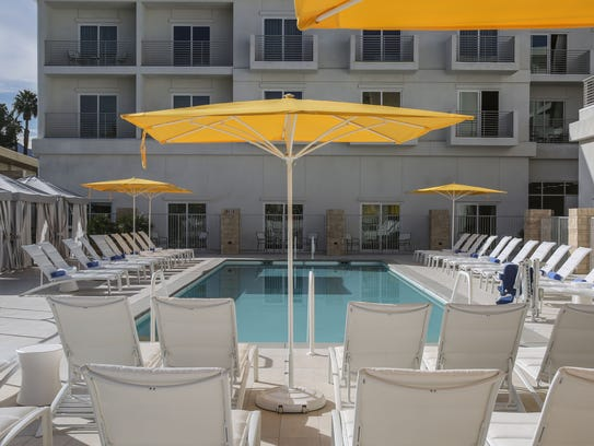 The pool area of the completed Hotel Paseo in Palm