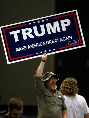 A Trump supporter at a rally in Spokane, Wash., on May 7, 2016.