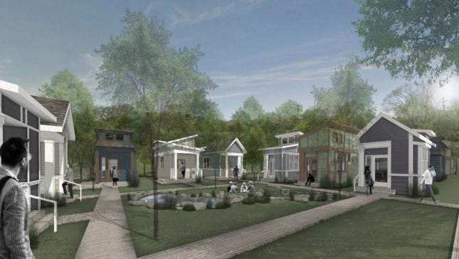 A rendering of the Village of Glencliff micro-home community planned on Glencliff Road.