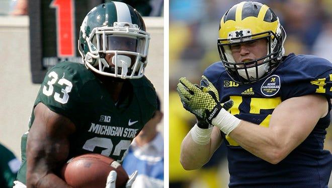 Michigan State's Jeremy Langford, left, and Michigan's Jake Ryan