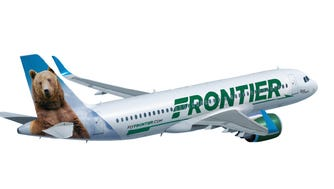 A file photo shows the latest paint job Frontier Airlines uses for its aircraft.