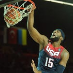 Team USA center Andre Drummond scores during the 2014 FIBA World basketball championships group C match Dominican Republic vs USA at the Bizkaia Arena in Bilbao on Sept. 3. USA won, 106-71.