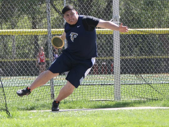 Giovanni Gutierrez of Saddle Brook gets ready to throw the discus at the NJIC Track & Field Divisional Championships in Emerson. Tuesday, May 2, 2017.