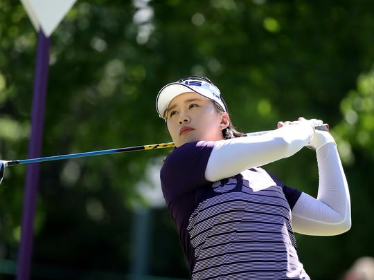 Amy Yang hits her tee shot on No. 4 during the Thornberry