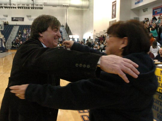 Pascack Valley Coach Jeff Jasper celebrating his 800th win with his wife Lois after his girls won the Group II NJSIAA Girls State Basketball Championships in March 2008  at the Ritacco Center at Toms River North High School in Toms River.