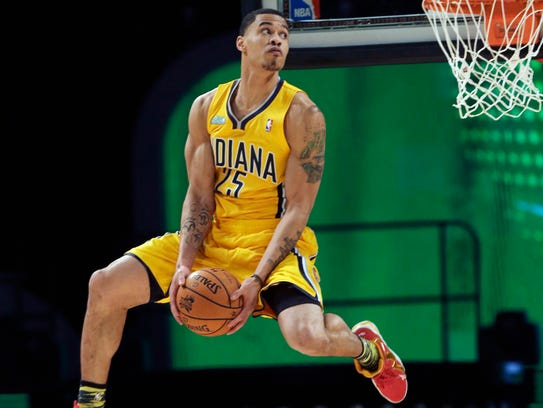 Gerald Green of the Indiana Pacers competes in the