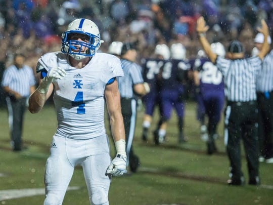 St. Xavier senior running back Ben Glines celebrates
